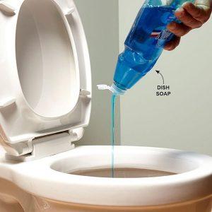 Nhỏ vài giọt nước rửa chén vào bồn cầu